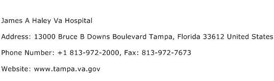 James A Haley Va Hospital Address Contact Number