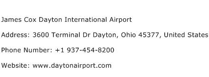 James Cox Dayton International Airport Address Contact Number