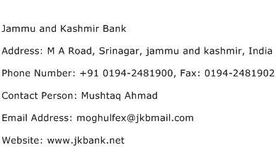 Jammu and Kashmir Bank Address Contact Number