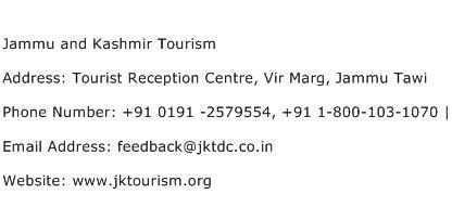 Jammu and Kashmir Tourism Address Contact Number