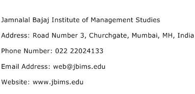 Jamnalal Bajaj Institute of Management Studies Address Contact Number