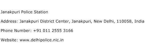 Janakpuri Police Station Address Contact Number