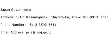 Japan Government Address Contact Number
