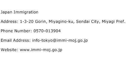 Japan Immigration Address Contact Number