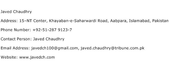 Javed Chaudhry Address Contact Number