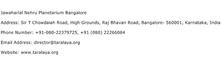 Jawaharlal Nehru Planetarium Bangalore Address Contact Number