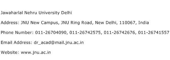 Jawaharlal Nehru University Delhi Address Contact Number