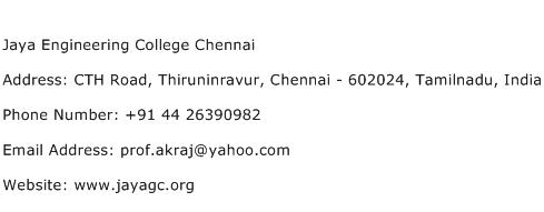 Jaya Engineering College Chennai Address Contact Number