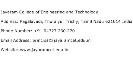 Jayaram College of Engineering and Technology Address Contact Number