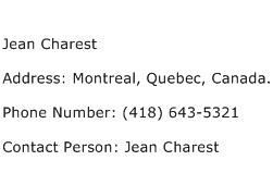 Jean Charest Address Contact Number