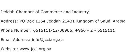 Jeddah Chamber of Commerce and Industry Address Contact Number