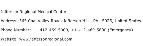 Jefferson Regional Medical Center Address Contact Number