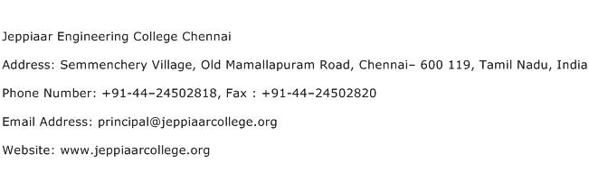 Jeppiaar Engineering College Chennai Address Contact Number