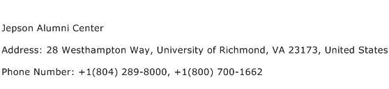 Jepson Alumni Center Address Contact Number