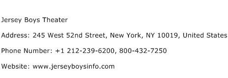 Jersey Boys Theater Address Contact Number