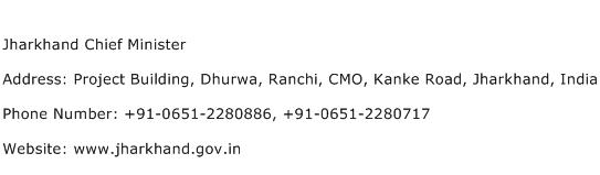 Jharkhand Chief Minister Address Contact Number