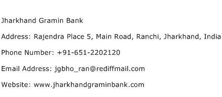 Jharkhand Gramin Bank Address Contact Number