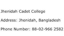 Jhenidah Cadet College Address Contact Number