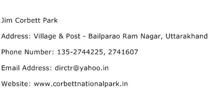 Jim Corbett Park Address Contact Number