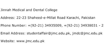 Jinnah Medical and Dental College Address Contact Number