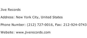 Jive Records Address Contact Number