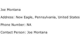Joe Montana Address Contact Number