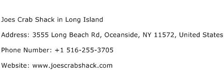 Joes Crab Shack in Long Island Address Contact Number