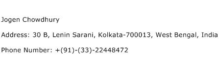 Jogen Chowdhury Address Contact Number