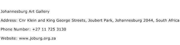 Johannesburg Art Gallery Address Contact Number