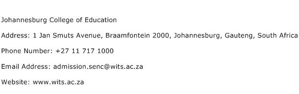 Johannesburg College of Education Address Contact Number