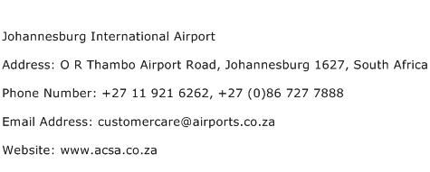 Johannesburg International Airport Address Contact Number