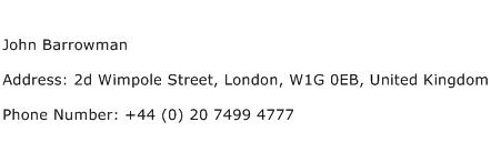 John Barrowman Address Contact Number