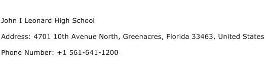 John I Leonard High School Address Contact Number