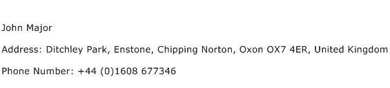 John Major Address Contact Number