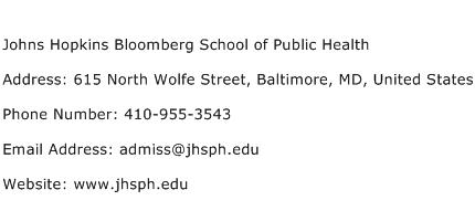 Johns Hopkins Bloomberg School of Public Health Address Contact Number