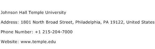 Johnson Hall Temple University Address Contact Number