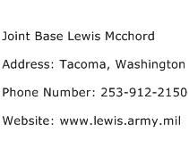Joint Base Lewis Mcchord Address Contact Number