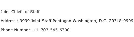 Joint Chiefs of Staff Address Contact Number
