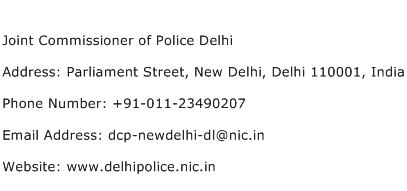 Joint Commissioner of Police Delhi Address Contact Number