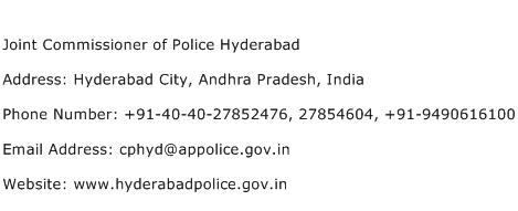 Joint Commissioner of Police Hyderabad Address Contact Number