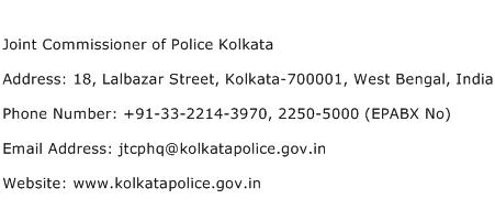 Joint Commissioner of Police Kolkata Address Contact Number