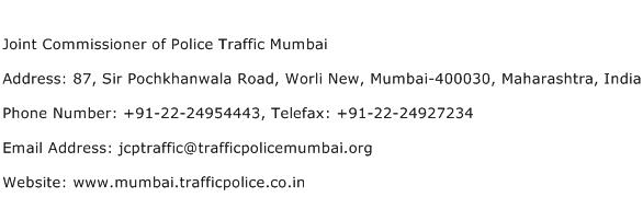 Joint Commissioner of Police Traffic Mumbai Address Contact Number