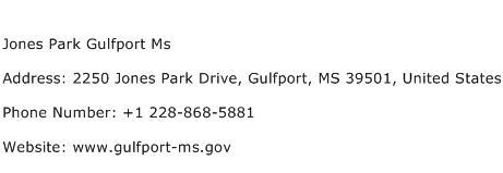Jones Park Gulfport Ms Address Contact Number