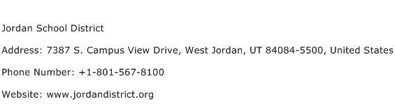 Jordan School District Address Contact Number