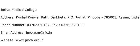 Jorhat Medical College Address Contact Number