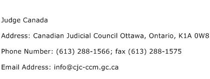 Judge Canada Address Contact Number