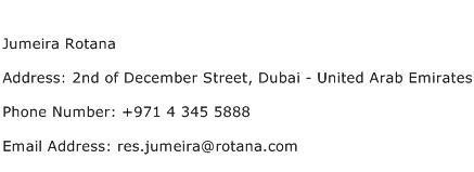 Jumeira Rotana Address Contact Number