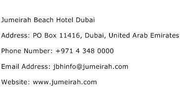 Jumeirah Beach Hotel Dubai Address Contact Number