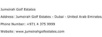 Jumeirah Golf Estates Address Contact Number