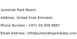 Jumeirah Park Beach Address Contact Number